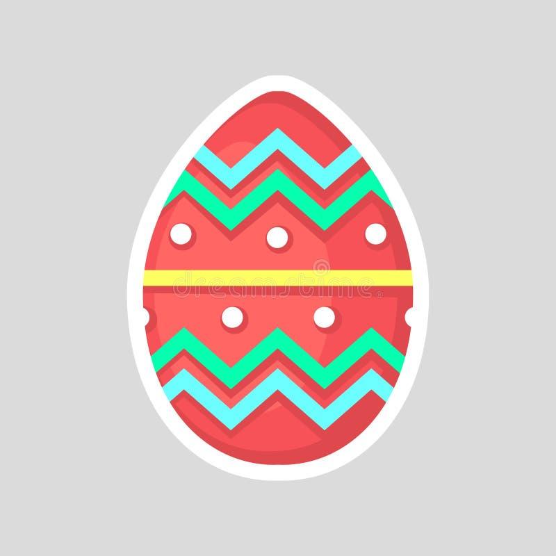 Ovo vermelho da Páscoa isolado em um fundo cinzento com o ornamento de contraste colorido do ziguezague, do corte e dos pontos ilustração do vetor