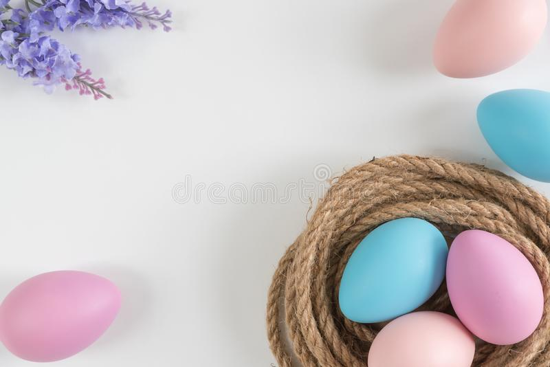 Ovos azuis, cor-de-rosa, e roxos pasteis no ninho com as flores da alfazema no fundo branco imagem de stock