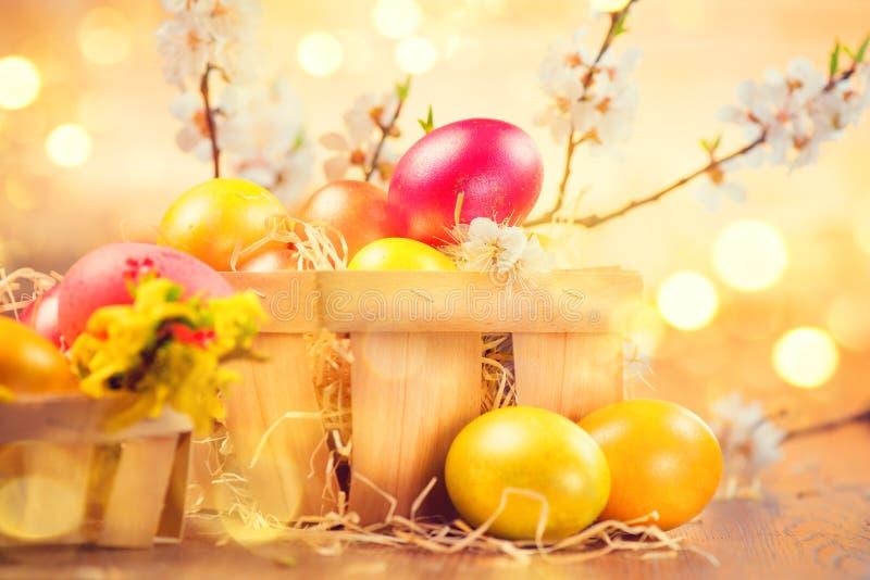 Ovos coloridos da Páscoa nas flores da cesta e da mola sobre o fundo borrado brilhante fotos de stock