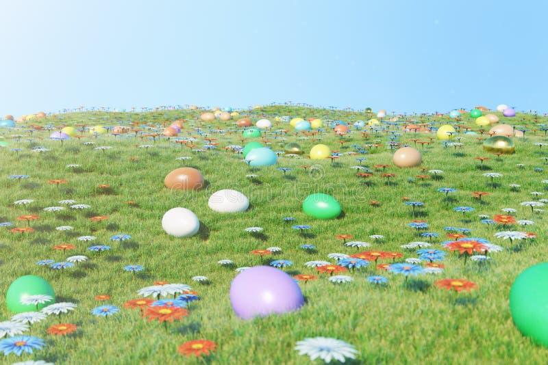Ovos coloridos em um prado em um dia ensolarado, com flores bonitas Ovos da p?scoa pintados coloridos na grama, gramado ilustração royalty free