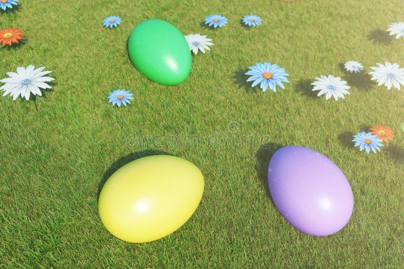 Ovos coloridos em um prado em um dia ensolarado, com flores bonitas Ovos da p?scoa pintados coloridos na grama, gramado ilustração do vetor