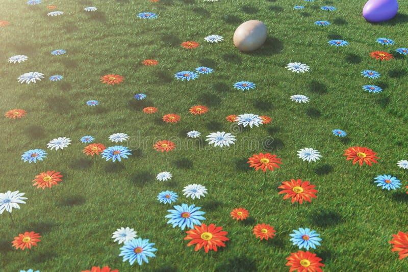 Ovos coloridos em um prado em um dia ensolarado, com flores bonitas Opinião superior dos ovos da páscoa na grama, gramado Conceit ilustração do vetor
