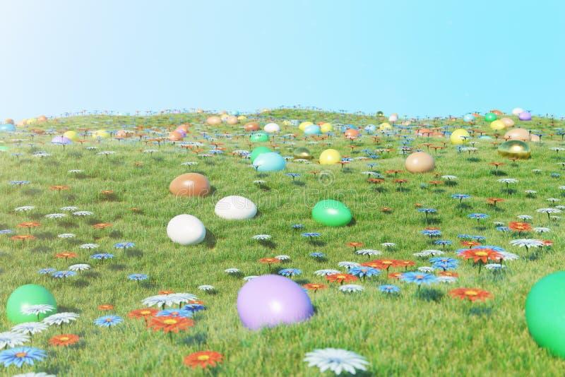 Ovos coloridos em um prado em um dia ensolarado contra o céu azul Ovos da páscoa pintados coloridos na grama, gramado Conceito ilustração stock