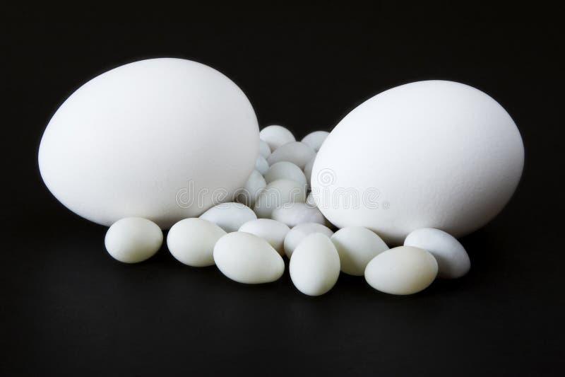 Ovos com fundo preto fotografia de stock