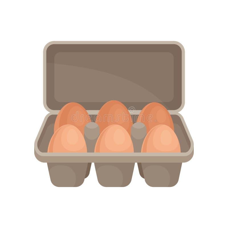Ovos crus no recipiente do cartão Produtos agrícolas orgânicos Tema do alimento Vetor liso para anunciar o cartaz da mercearia ilustração royalty free
