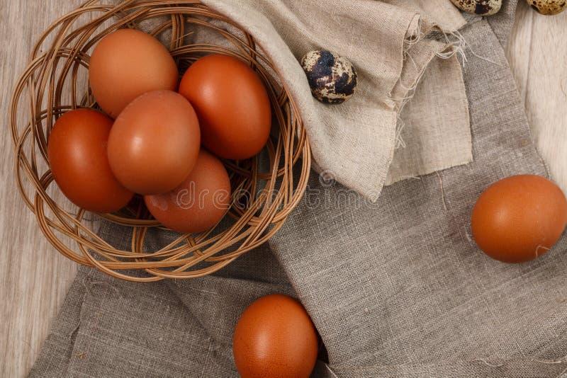 Ovos da galinha com ramos do salgueiro Easter feliz imagens de stock