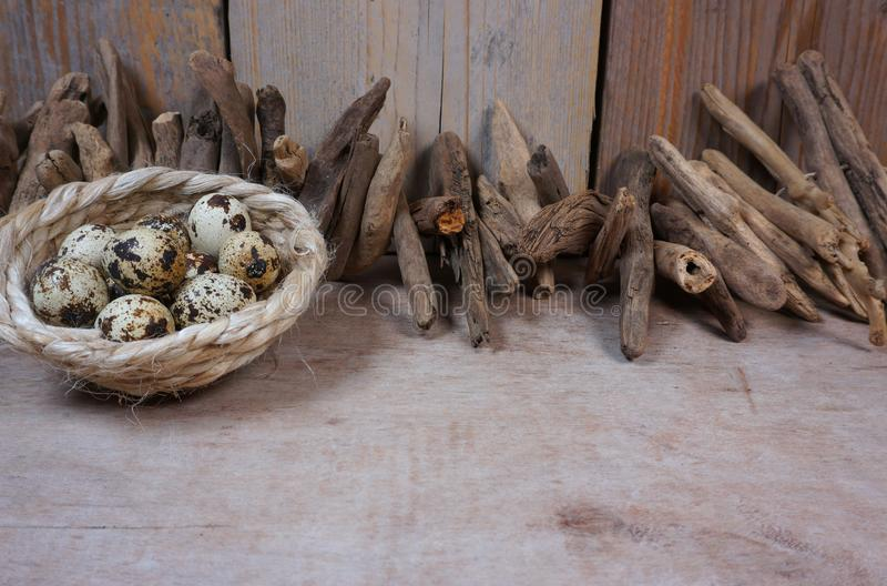 Ovos da madeira lançada à costa e de codorniz no fundo de madeira fotografia de stock royalty free
