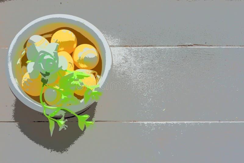 Ovos da páscoa amarelos em uma bacia branca pequena fotos de stock