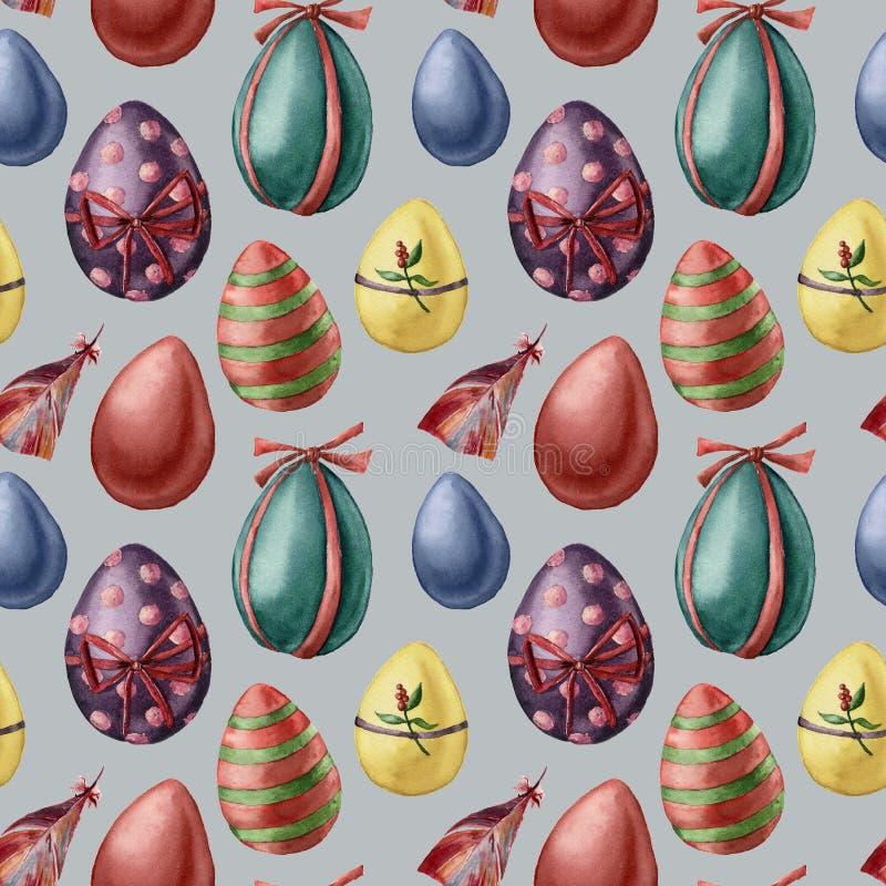 Ovos da páscoa da aquarela e teste padrão da pena Ovos coloridos pintados à mão com a decoração isolada no fundo azul feriado ilustração do vetor
