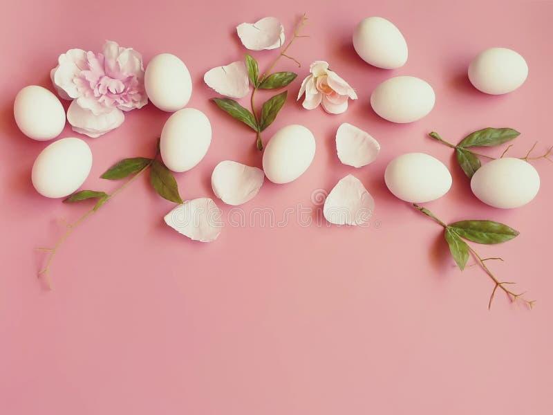 Ovos da páscoa brancos com a pétala de rosas no fundo cor-de-rosa imagem de stock