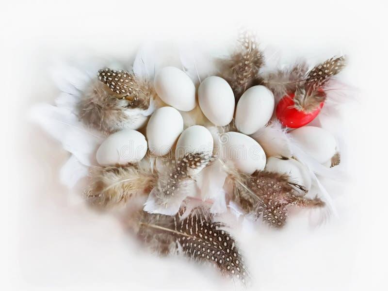 Ovos da páscoa brancos e projeto azul do feriado do tema do fundo dos cumprimentos da ilustração da árvore de salgueiro vermelho imagens de stock