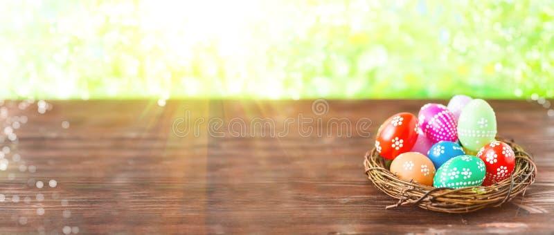 Ovos da páscoa coloridos adiantados brilhantes em um fundo ensolarado da mola foto de stock royalty free