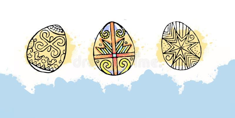 Ovos da páscoa coloridos com teste padrão bonito do sumário da cor Isolado no fundo branco - ilustração gráfica Páscoa decorativa ilustração stock