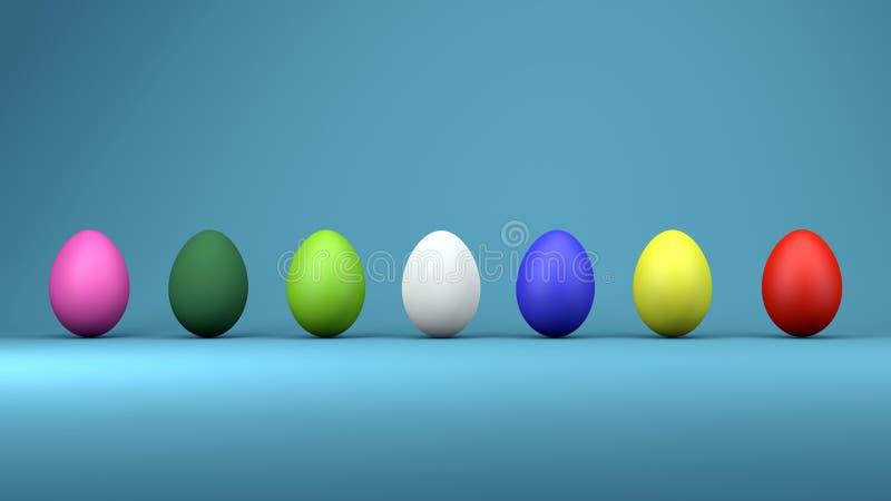 Ovos da páscoa coloridos, conceito de projeto na moda, ilustração 3d ilustração do vetor