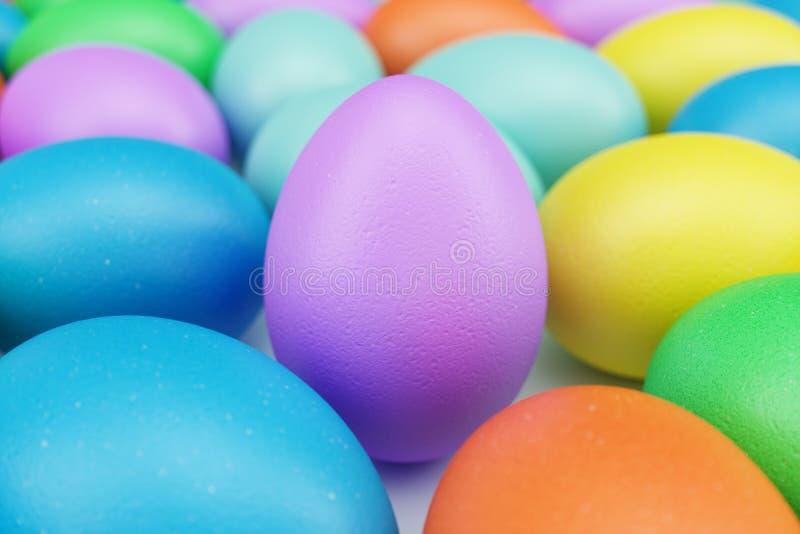 Ovos da páscoa coloridos, cor pastel, multi ovos da cor: rosa, azul, verde, alaranjado, amarelo Caça do ovo da páscoa do conceito ilustração do vetor