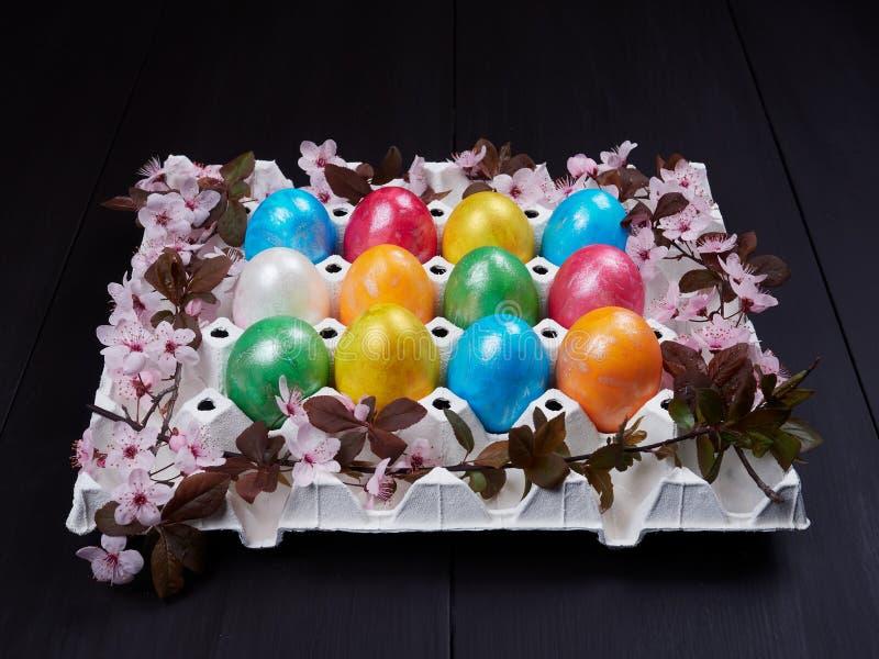 Ovos da páscoa coloridos em uma caixa de ovo branco ou em uma caixa do ovo foto de stock royalty free