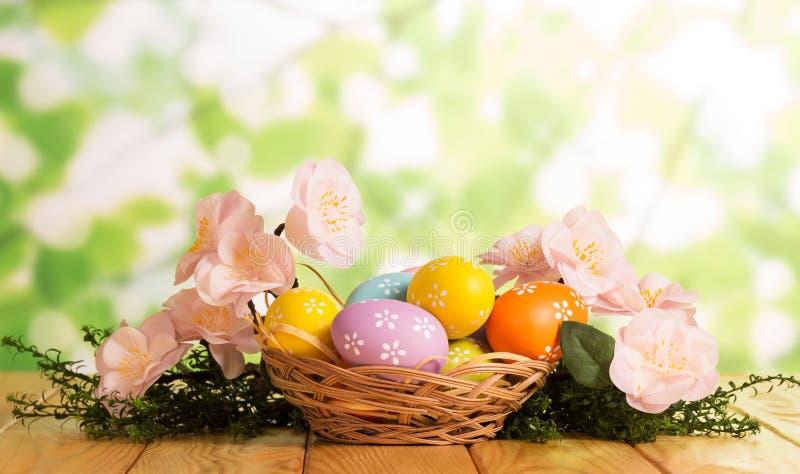Ovos da páscoa coloridos na cesta, grama, flores no verde abstrato foto de stock
