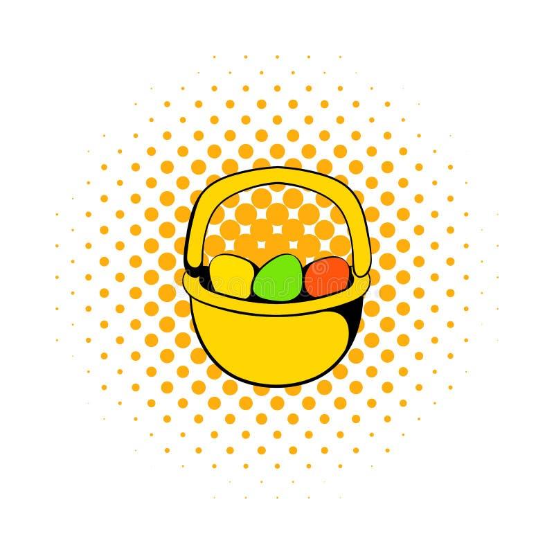 Ovos da páscoa coloridos no ícone da cesta ilustração stock