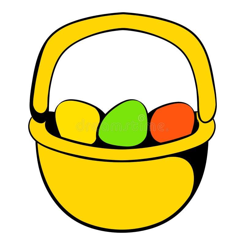 Ovos da páscoa coloridos no ícone da cesta ilustração do vetor