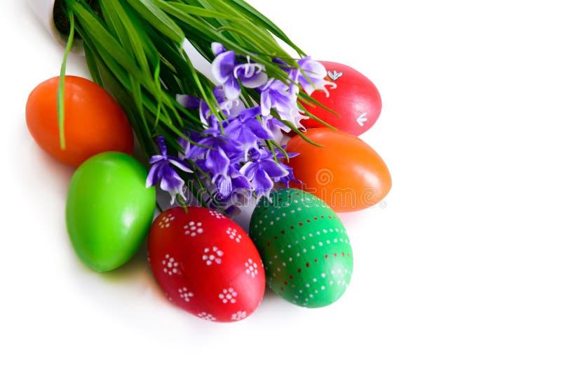Ovos da páscoa com cartão das flores imagens de stock