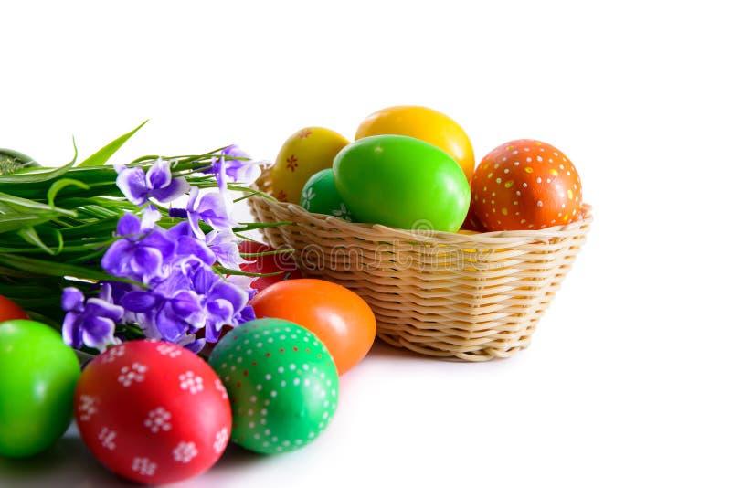Ovos da páscoa com cartão das flores fotografia de stock royalty free