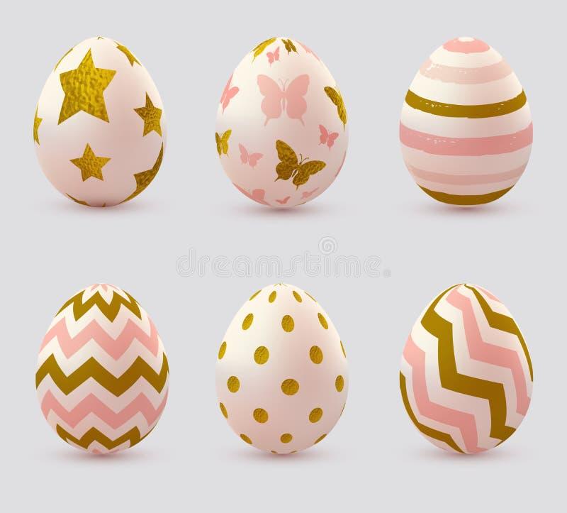 Ovos da páscoa com elementos dourados ilustração do vetor