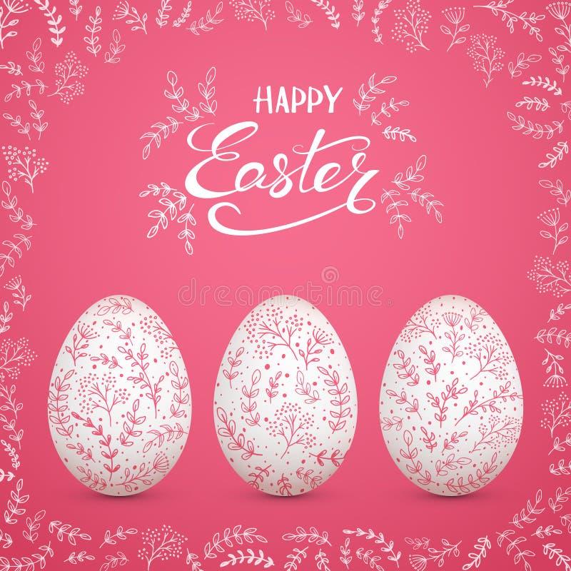 Ovos da páscoa com elementos florais decorativos no fundo cor-de-rosa ilustração do vetor