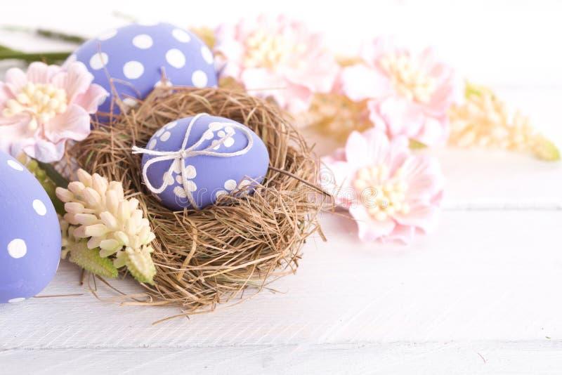 Ovos da páscoa com ninho fotos de stock