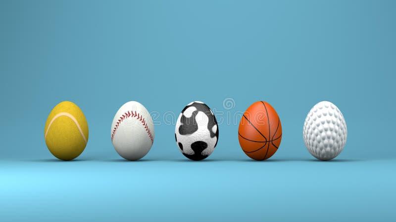 Ovos da páscoa, conceito de projeto, ilustração 3d ilustração do vetor