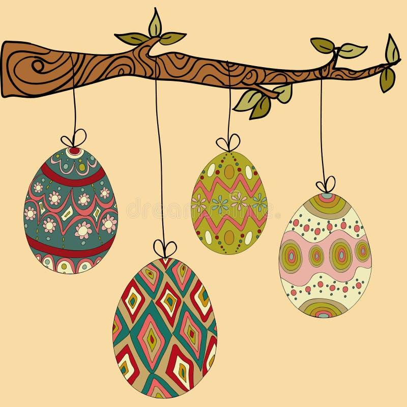 Ovos da páscoa de suspensão da árvore ilustração stock