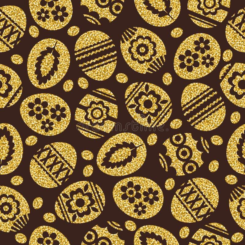 Ovos da páscoa dourados isolados no fundo marrom Ovos da páscoa do ouro decorados com flores Teste padrão sem emenda ilustração royalty free