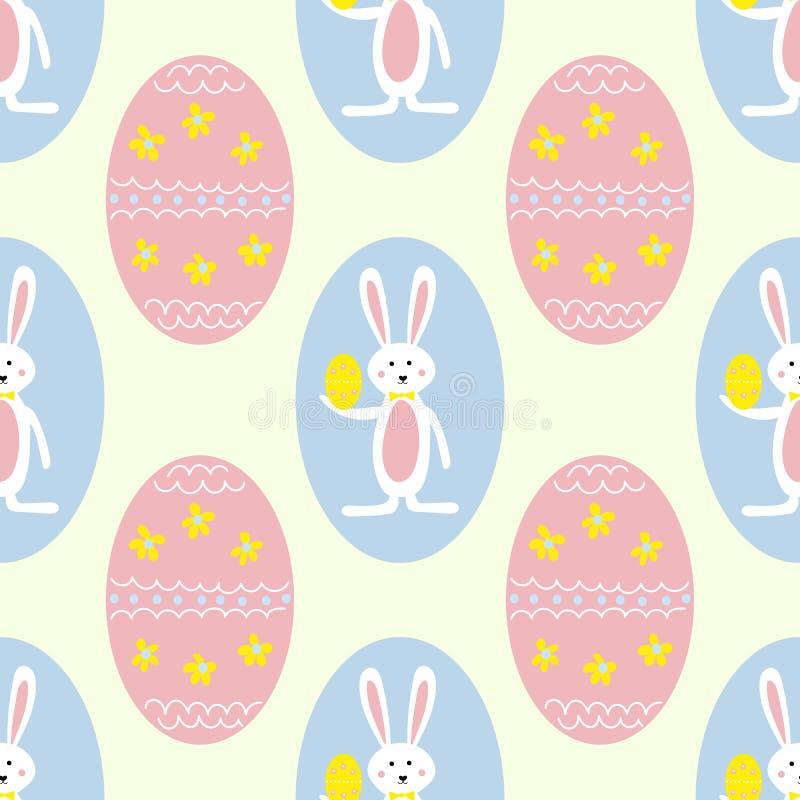 Ovos da páscoa e Bunny Seamless Pattern Print Background coloridos ilustração stock