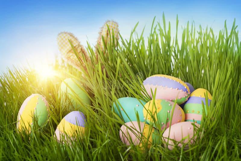 Ovos da páscoa e coelho coloridos