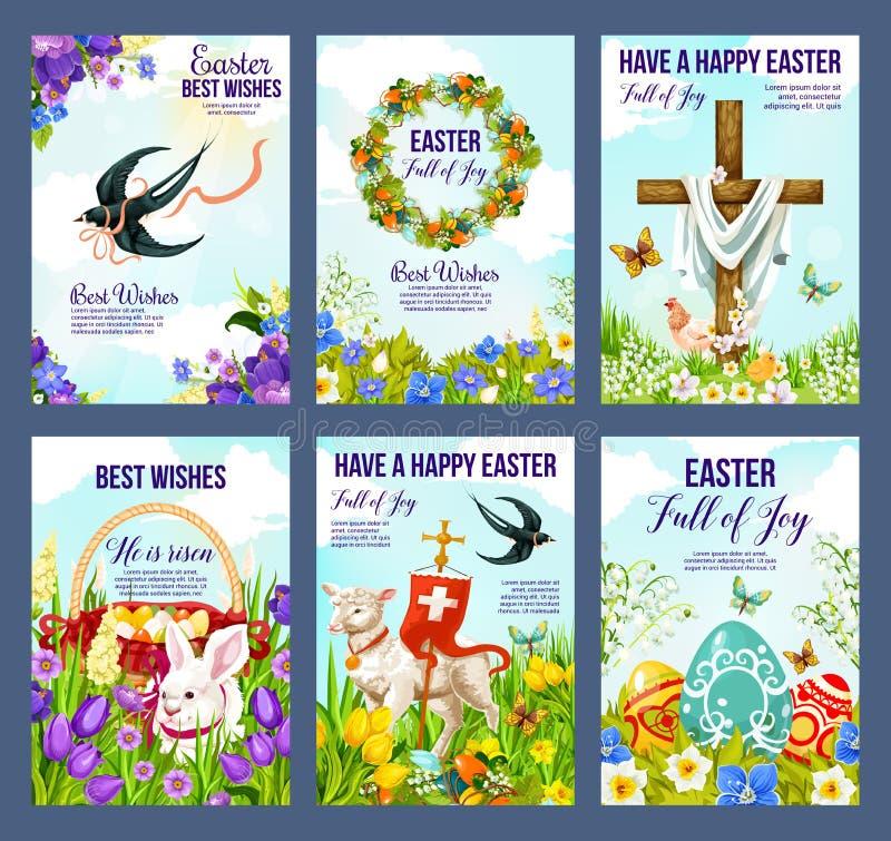 Ovos da páscoa e crucifixo felizes em cartões das flores ilustração stock