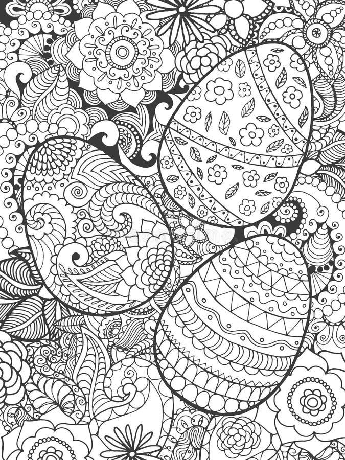 Ovos da páscoa e flores que colorem a página ilustração do vetor