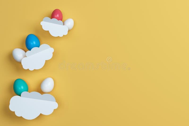 Ovos da páscoa e nuvem coloridos no fundo amarelo Espaço para o te ilustração do vetor