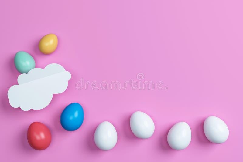 Ovos da páscoa e nuvem coloridos no fundo cor-de-rosa Espaço para o texto ilustração do vetor