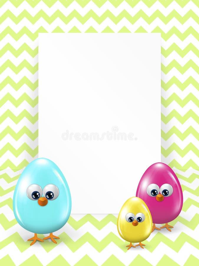 Ovos da páscoa e placa branca sobre o fundo do ziguezague ilustração royalty free