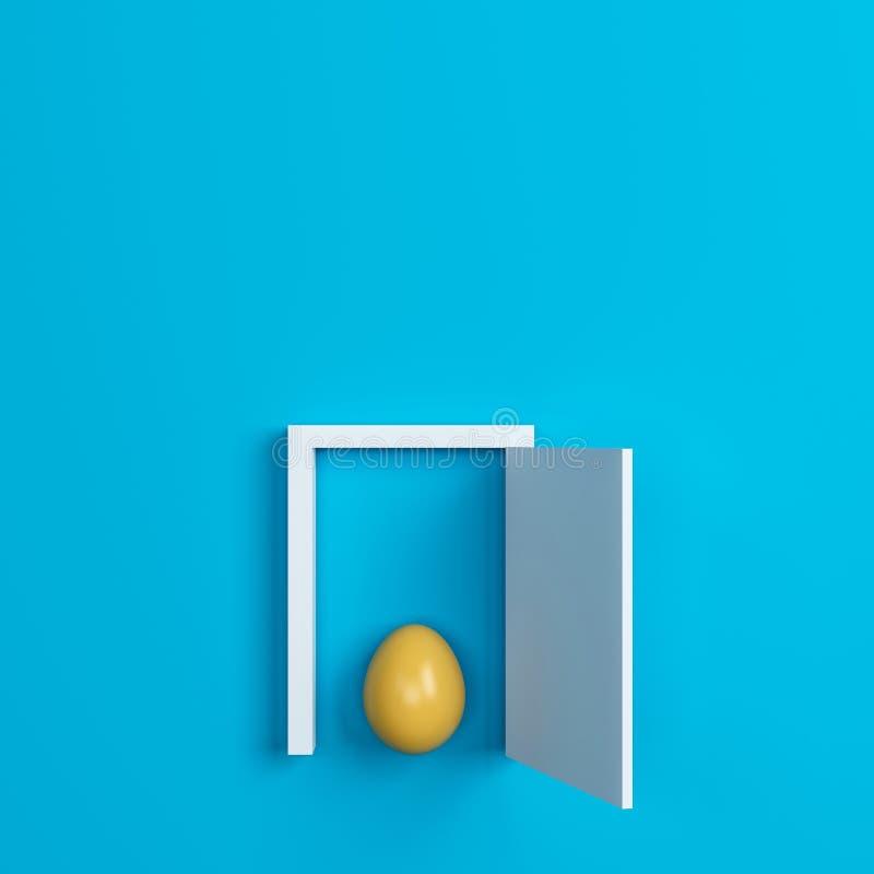 Ovos da páscoa e porta coloridos no fundo azul Espaço para o texto ilustração stock