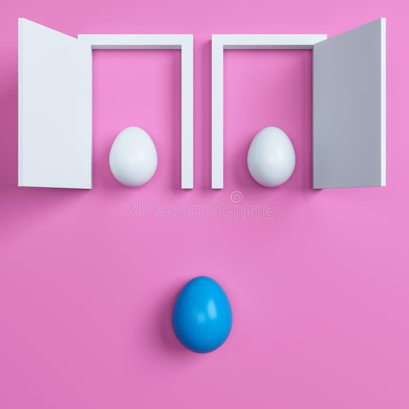 Ovos da páscoa e porta coloridos no fundo cor-de-rosa rendição 3d ilustração royalty free