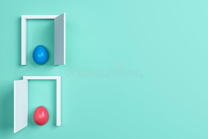 Ovos da páscoa e porta coloridos no fundo verde Espaço para o texto ilustração royalty free