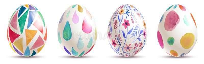 Ovos da páscoa elegantes da aquarela colorida ilustração stock
