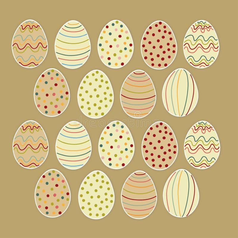 Ovos da páscoa felizes ajustados ilustração stock
