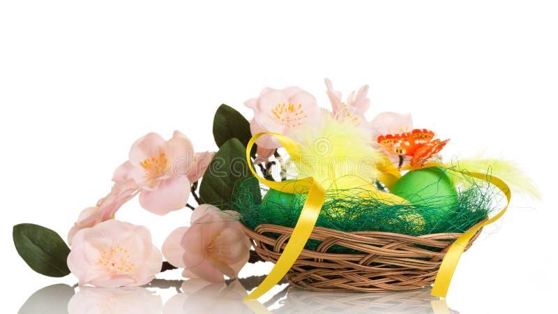 Ovos da páscoa na cesta e no ramo com as flores isoladas imagens de stock royalty free