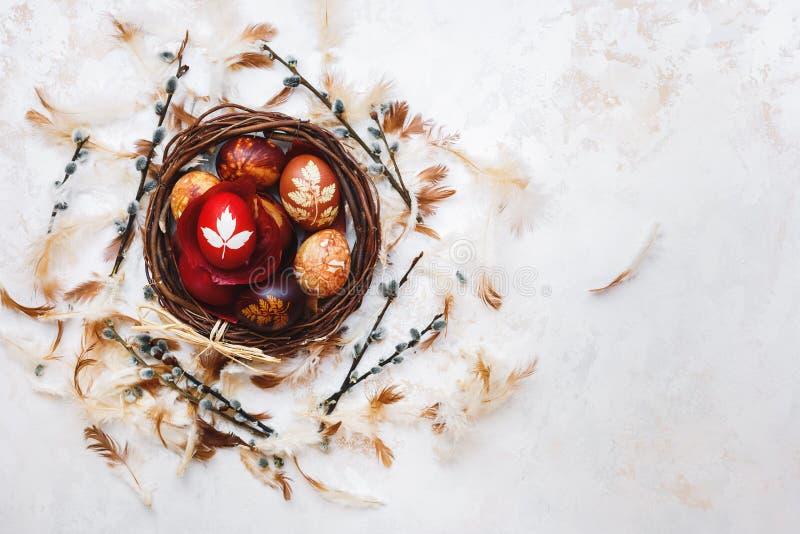 Ovos da páscoa naturalmente tingidos em um ninho da Páscoa imagem de stock royalty free