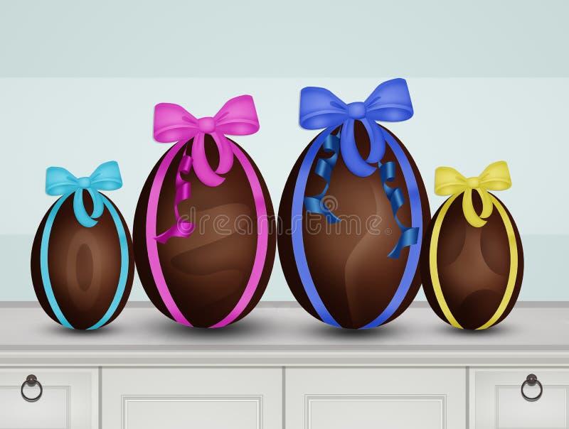Ovos da páscoa para a família ilustração royalty free