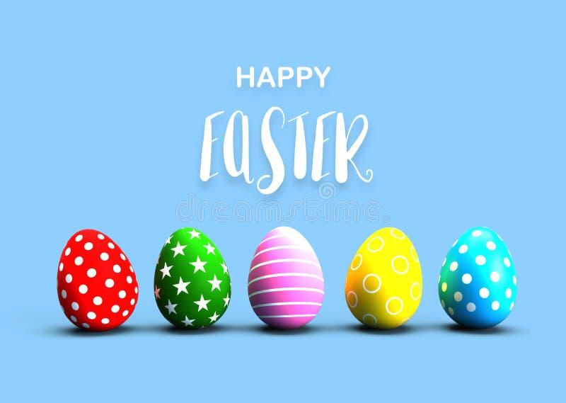 Ovos da páscoa pintados coloridos com texto da caligrafia no fundo azul do assoalho feriado e conceito do festival Estrela e linh ilustração royalty free