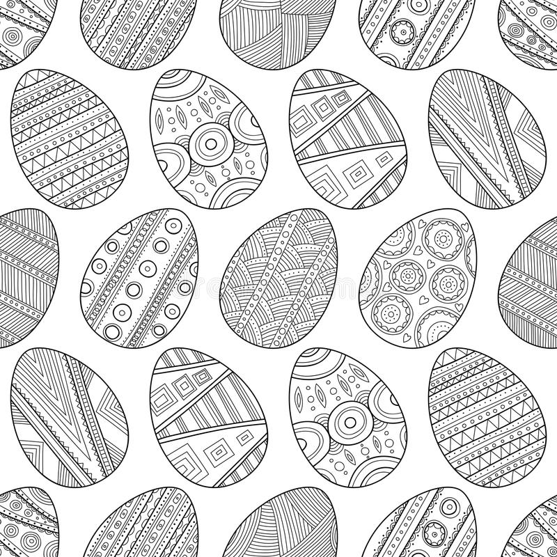 Ovos da páscoa preto e branco sem emenda do teste padrão para o livro para colorir ilustração stock