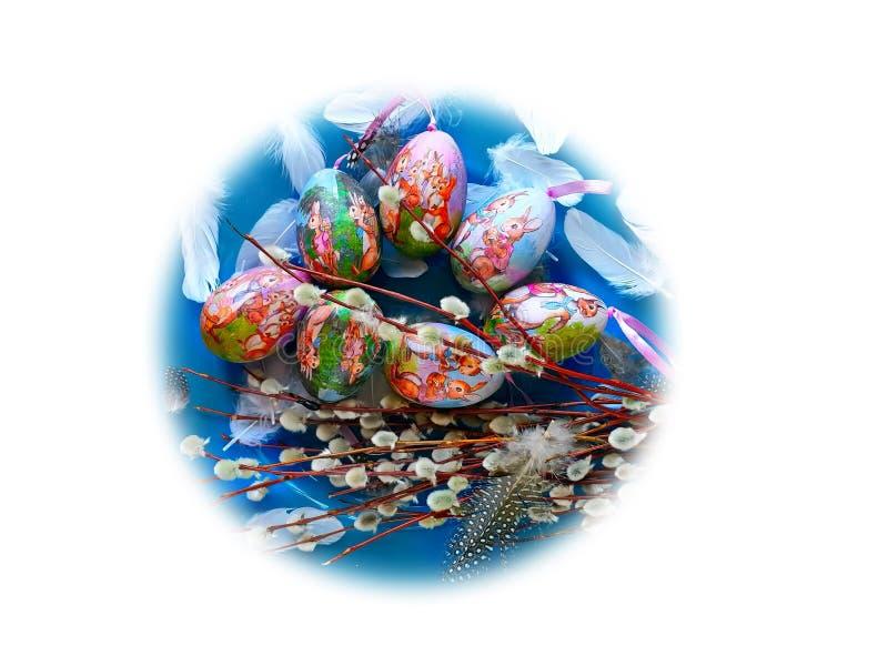 Ovos da páscoa projeto amarelo cor-de-rosa azul do feriado do tema da Páscoa da mola do fundo azul dos cumprimentos da ilustração fotografia de stock royalty free