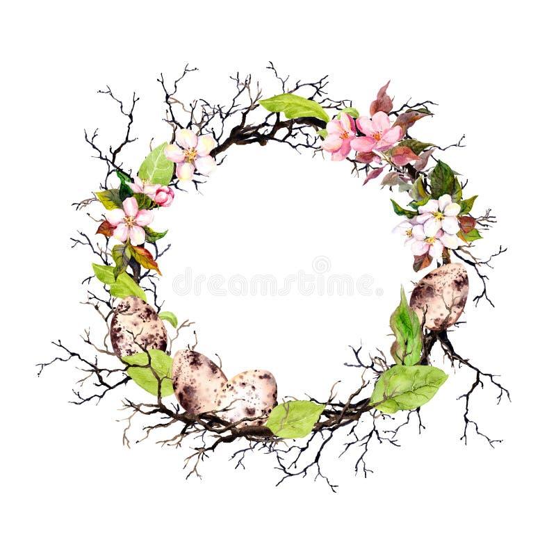 Ovos da páscoa, ramos e folhas da mola Grinalda floral para a Páscoa Beira do círculo da aquarela ilustração royalty free